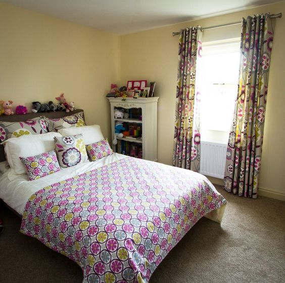 Curtains Ideas curtains made from bed sheets : This girlie bedroom looks great with the bed sash, cushions and ...