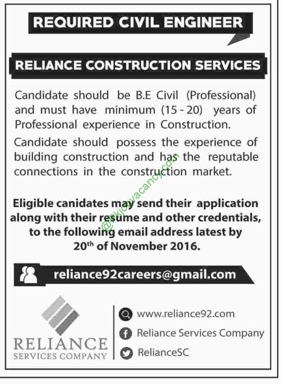 Reliance Construction Services Jobs, Civil Engineer, November 2016 - rough carpenter sample resume