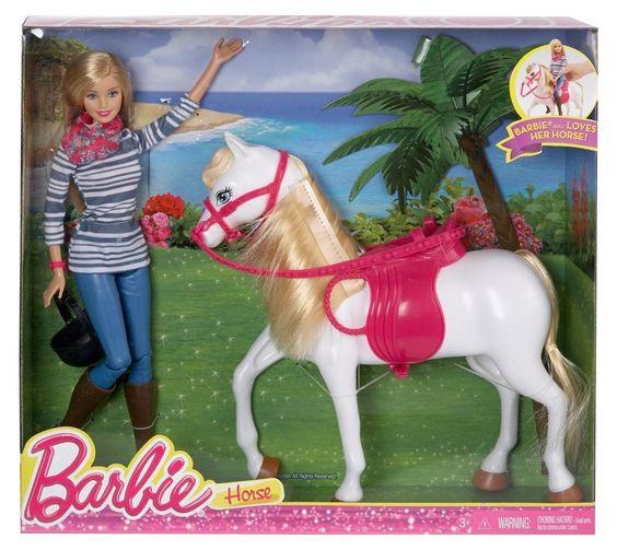 NIB- Barbie Doll and Tawny White Horse with Pink Saddle Gift Set #Mattel #DollswithClothingAccessories