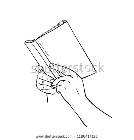 Sketch Of Hands Holding Open Book With Blank Cover Mockup Hand Drawn Isolated Vector Linear Illustrati Hand Reference Open Book Drawing Hand Drawing Reference