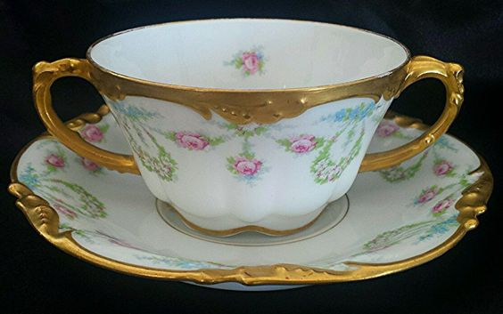 J P Limoges Bouillon cup and Saucer with Wreaths and Pink Blue Roses Gold