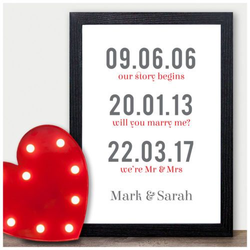 Personalised 1st Wedding Anniversary Gift Ideas For Him Her Husband Wife Unique 1 Year First P Personalized Valentine Gifts Paper Gifts Anniversary Paper Gifts