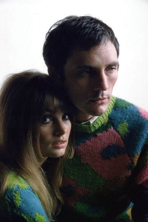Jean Shrimpton and Terence Stamp. Look who's mum knitted them a sweater for christmas....