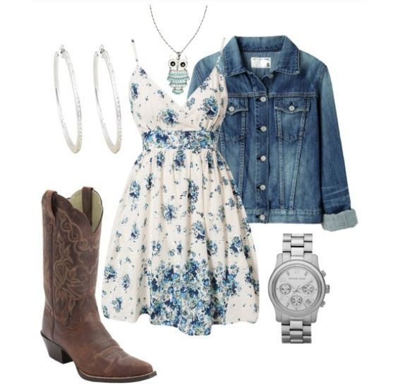 Sundress with jean jacket and boots