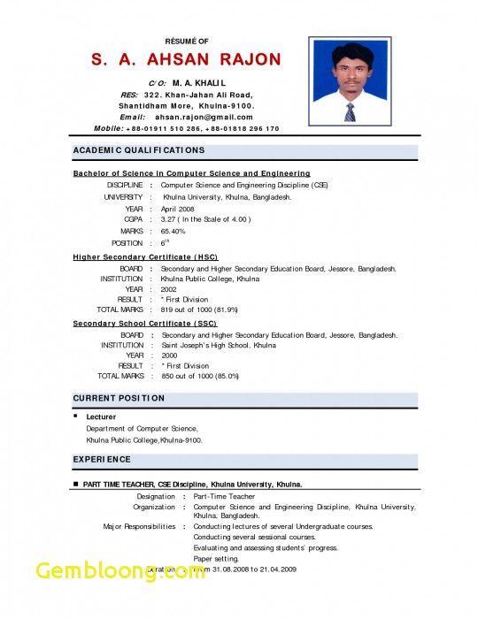 Resume Format Job Interview Resume Format Best Resume Format Resume Format Download Standard Cv Format