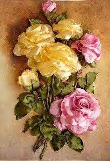 kurdela Dunyasi. fb: Roses Ribbonembroidery, Ribbon Art, Flower Crafts, Silk Ribbon Embroidery, Art Flowers, Flowers Art, Silk Ribbons, Ribbonwork Craft