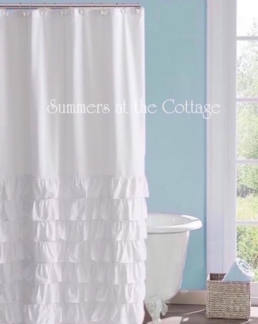 Breezy White Ruffles Coastal Beach House Shower Curtain Beach