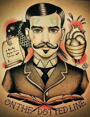 Pact with the Devil Tattoo Art Print por ParlorTattooPrints en Etsy