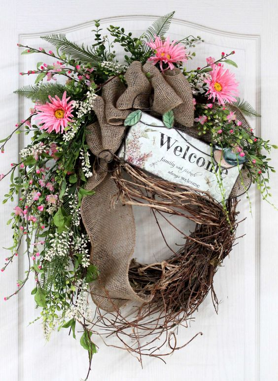 Country Welcome Wreath, Front Door Wreath, Spring Wreath, Wildflowers, Burlap, Honeysuckle, Summer Wreath, Country Decor -- FREE SHIPPING. $162.00, via Etsy.