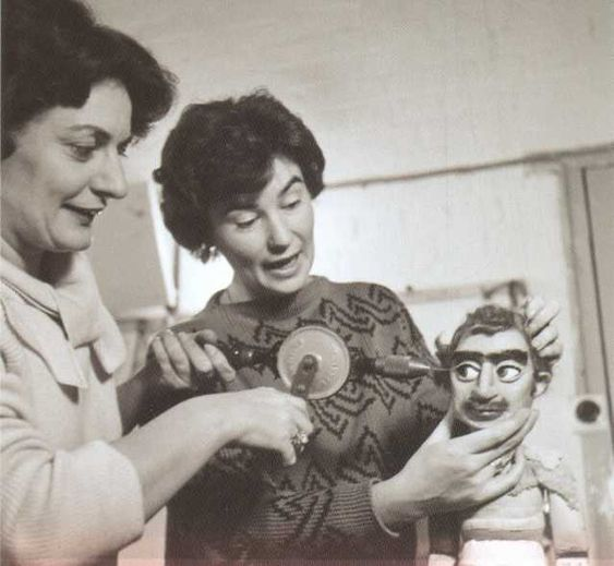 Christine Glanville and Mary Turner operating on a puppet