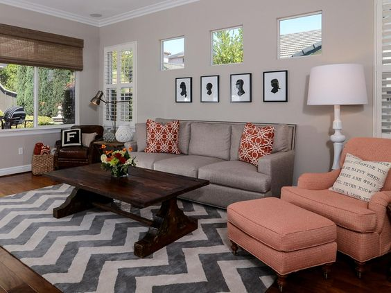 transitional gray living room | living room with coral accents from kerrie kelly tags gray and white ...:
