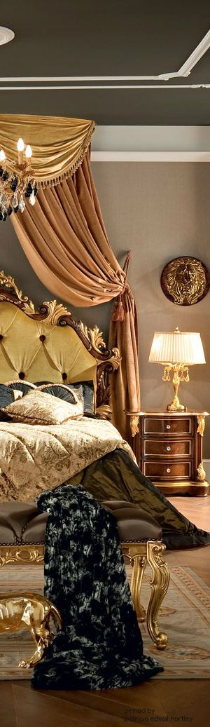 Mansions world and beds on pinterest for Opulent bedrooms