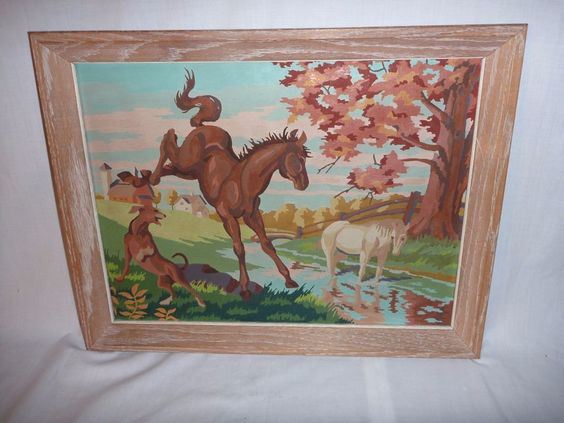 VIntage Paint By Number Craft Master Frolicing Colts Horse Pony on Canvas PBN #Realism