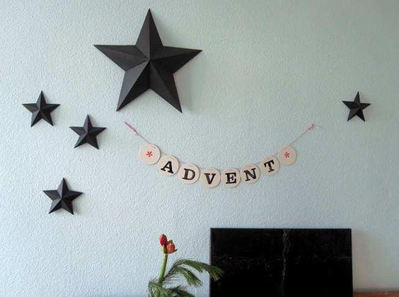 Buchstaben-Girlande Advent Weihnachtsdeko Sterne