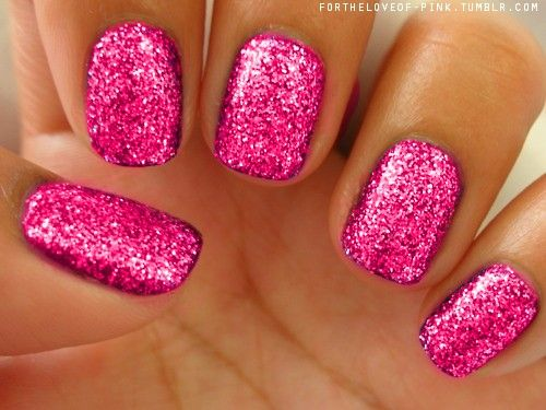 hot pink and glitter nails!!