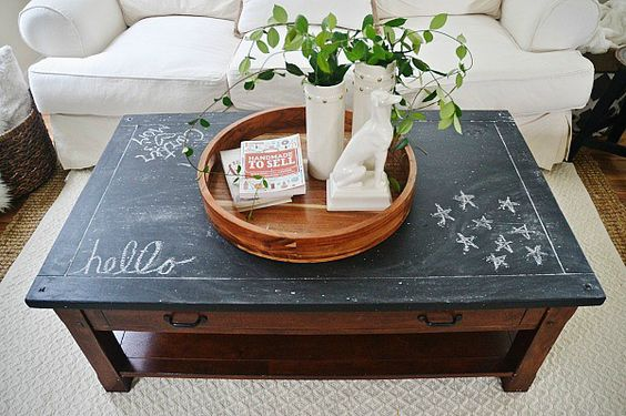 Coffee table makeover coffee tables and chalkboards on for Coffee table makeover ideas