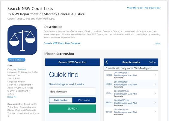 Smartphone App Allows Search Of Nsw Court Lists Search Courts Lists For The Nsw Supreme District Local And Coroner S Courts Party Names Court Criminology