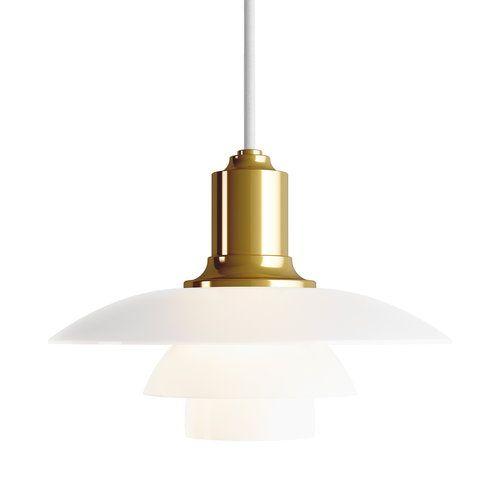 Louis Poulsen S Ph 2 1 Pendant Light In White And Metallised Brass
