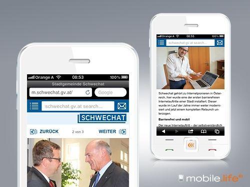 m.schwechat.gv.at / Mobile Webseite Stadtgemeinde Schwechat © echonet communication GmbH