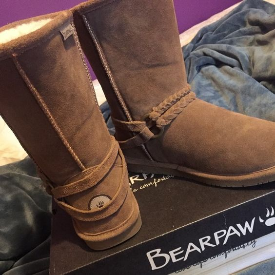Bearpaw Boots $60 OBO LIMITED EDITION! I got these boots for Christmas and they didn't fit so they've never been worn! Can be worn with or without the braided strap on top of the foot Bearpaw Shoes Ankle Boots & Booties