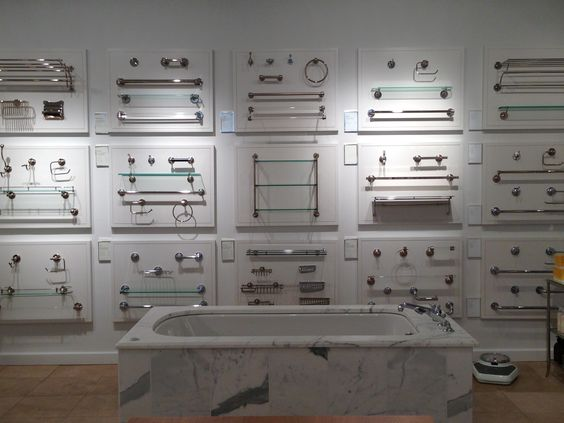 bathroom accessories display waterworks accessory wall robe hooks towel bars shelves and - Bathroom Accessories Display