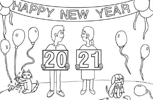 Happy New Year 2021 Coloring Pages New Year Coloring Pages Coloring Pages Happy New Year