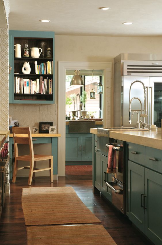 Kitchens, Cabinet colors and Teal on Pinterest