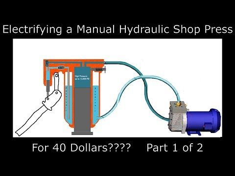 Converting a hydraulic press from manual to electric. FOR 40 DOLLARS? -  YouTube   Hydraulic, Hydraulic shop press, Metal working tools   Hydraulic Press Wiring Diagram      Pinterest