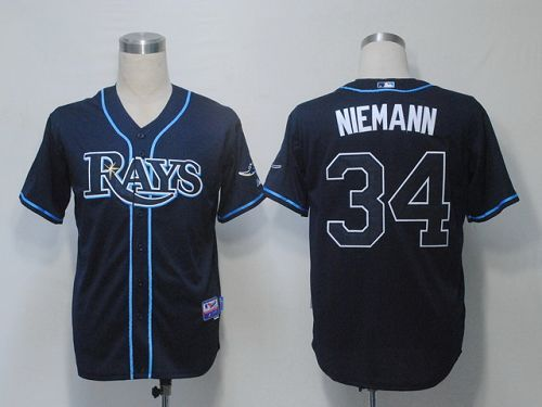 Rays #34 Jeff Niemann Dark Blue Cool Base Embroidered MLB Jersey