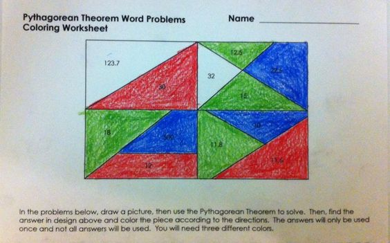 Pythagorean Theorem Word Problems Coloring Worksheet A Fun Alternative To A Boring Worksheet Word Problem Worksheets Word Problems Pythagorean Theorem