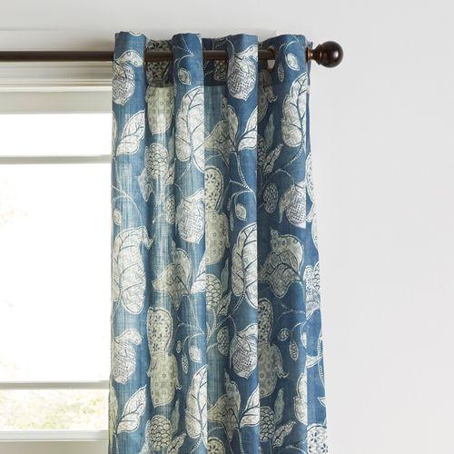 Aria Navy 96 Curtain Blue Floral Curtains Curtains Blue