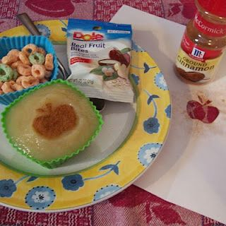 """Have an """"A is for APPLE"""" snack and use a simple stencil to add a cute cinnamon touch to your little one's applesauce.  B-InspiredMama.com"""