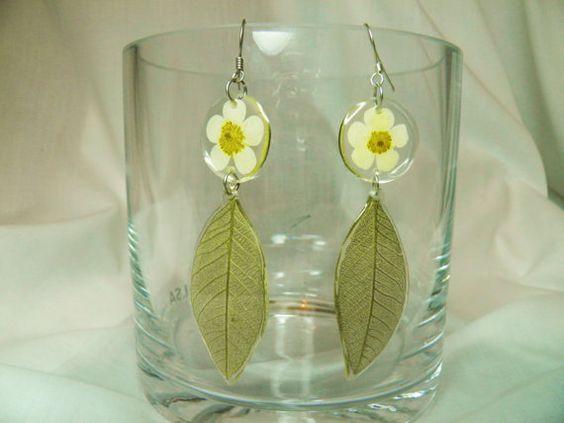 Real Flower and Leaf Earrings on Sterling by BioArteNatureJewelry, $22.00