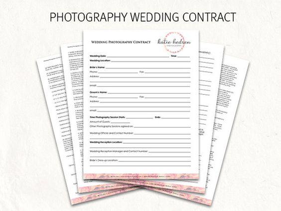 Wedding Contract  Wedding Photography Contract Template  Wedding
