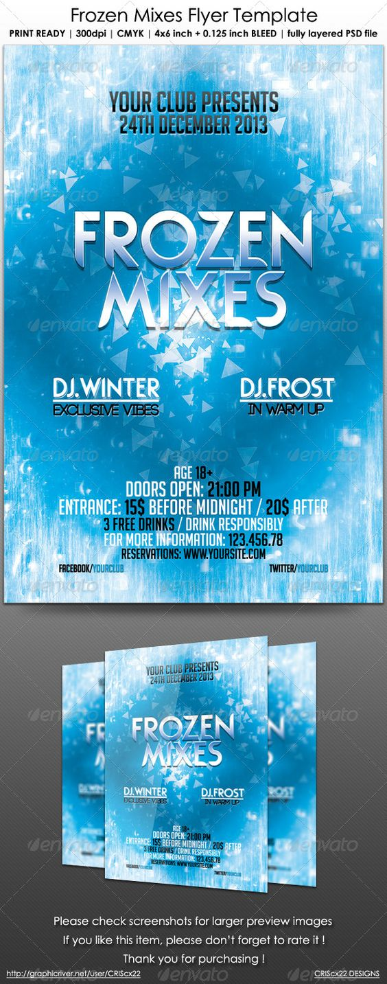 frozen mixes flyer template flyer template adobe and music events frozen mixes flyer template this flyer template can be used to promote your dance house techno music event winter