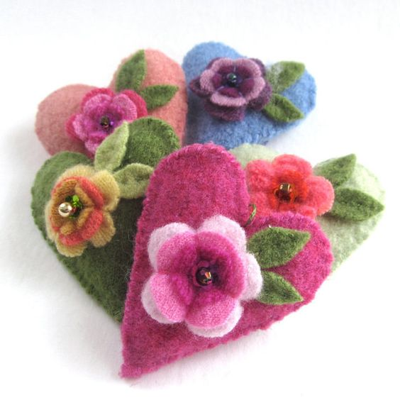 Set of Five Hearts Handsewn Stuffed Embellished by DodadChick