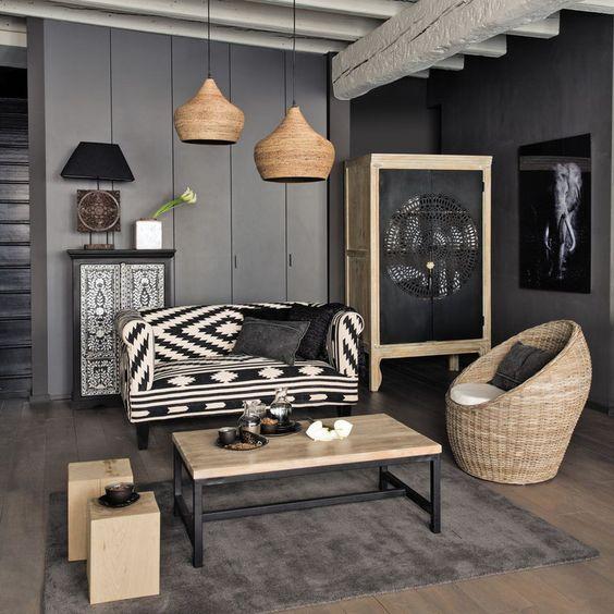 Maisons du Monde http://www.m-habitat.fr/par-pieces/salon-et-salle-a-manger/idees-deco-pour-votre-salon-2636_A #déco #noir
