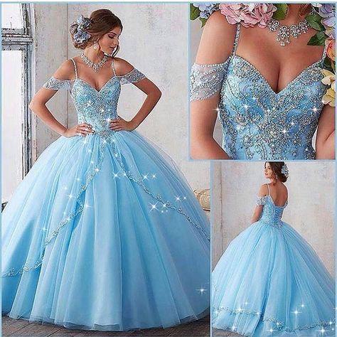 """1,896 curtidas, 21 comentários - Moda Para Mulheres (@modaparamulheres) no  Instagram: """"Vesti…   Quinceanera dresses blue, Quincenera dresses, Prom  dresses ball gown"""
