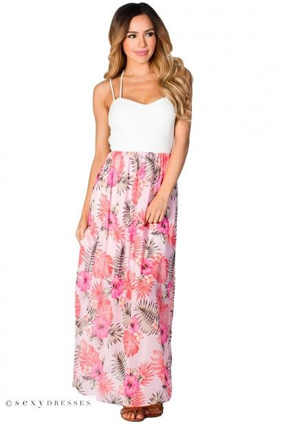 """""""Belle"""" Strappy White and Pink Hibiscus Floral Print Chiffon Maxi Dress"""