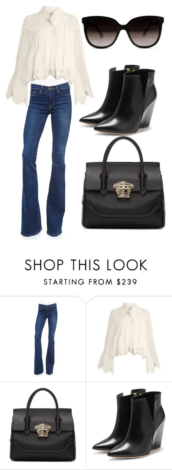 """Untitled #186"" by blackismyobsession ❤ liked on Polyvore featuring Frame Denim, See by Chloé, Versace and Rupert Sanderson"