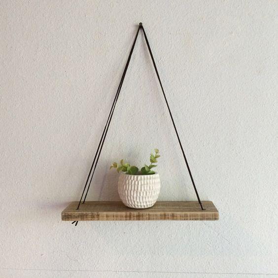 Swing Shelf - Reclaimed Wood Shelf - Wood and Leather - Urban Shelf - Simple…: