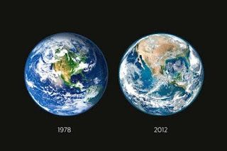 """""""NASA Deforestation Image"""" OR the """"Earth 34 years later."""" A cunning mix of seasons, zoom, and slight modification of the colors. Not true, not put out by NASA, and, most of all, we do not need to lie to get people to accept deforestation or global warming."""