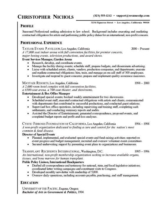 Sample Chronological Resume Résumé Pinterest Career - public policy resume