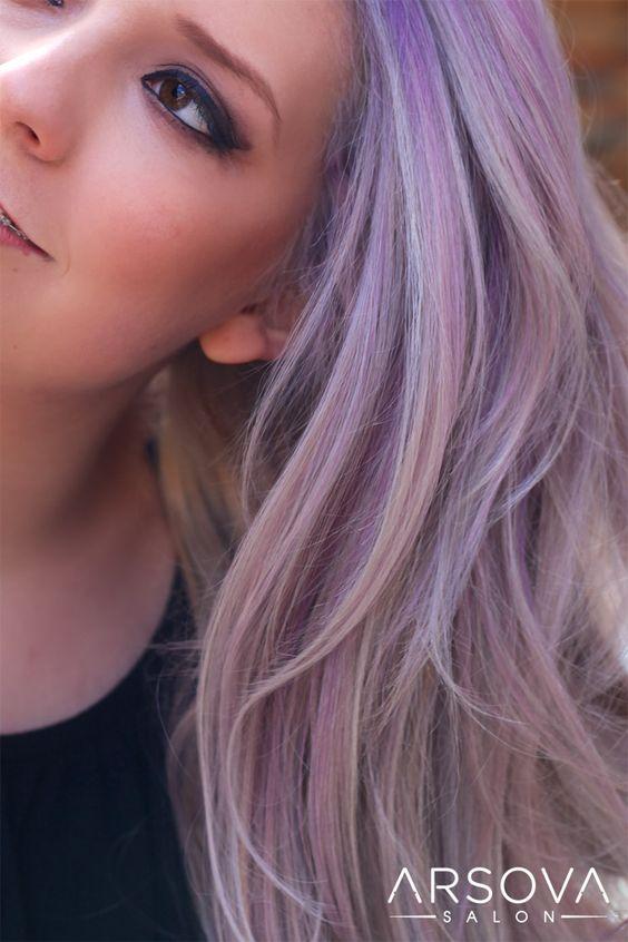 Pretty ashy purple. balayage,pastel