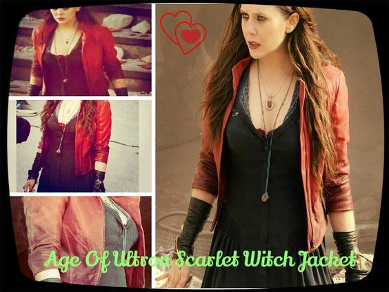The super stylish Elizabeth Olsen Red jacket is precisely designed by our fashion store at very reasonable cost, she wore in the role Scarlet Witch, grab  this Captain America outfit now! #Comics   #News   #EntertainmentNews #Marvel  #Avengers  #AgeofUltron   #AvengersAgeOfUltron  #Ultron   #Quicksilver #IronMan #TheAvengers #CaptainAmerica