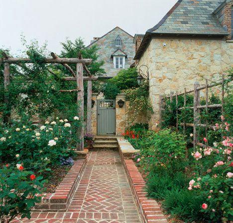 so pretty: Brick Walkway, Garden Ideas, Garden Design, Garden Paths Walkways, Garden Gates, Outdoor Walkways, Rose Garden, Roses Garden, Brick Pathway