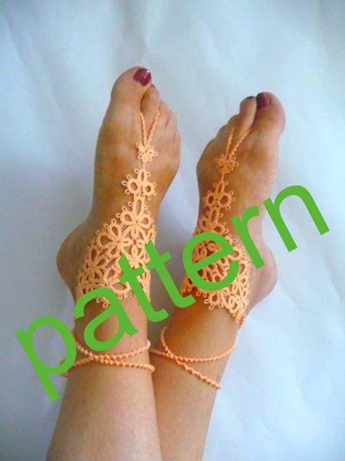 crochet sandal diagram tatting barefoot sandals pattern pdf pattern tatting  tatting barefoot sandals pattern pdf pattern tatting