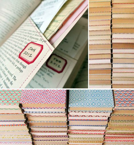 Stitched book pockets. Turn old books into organizers.