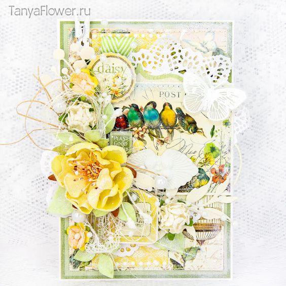 красивая открытка ручной работы с цветами и птицами: