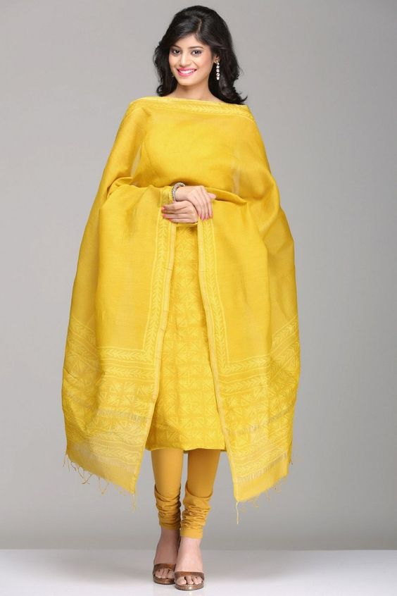 Mustard Maheshwari Tussar Silk Unstitched Suit With Abstract Geometric Hand Block Print & A Gold Zari Border
